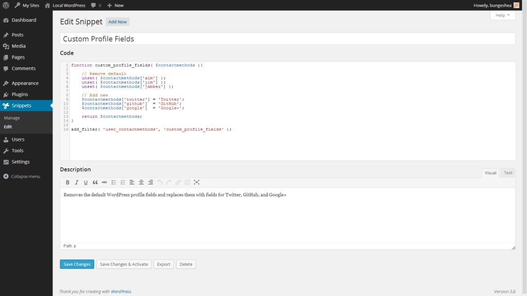 اضافه کردن کدها در افزونه Code Snippets